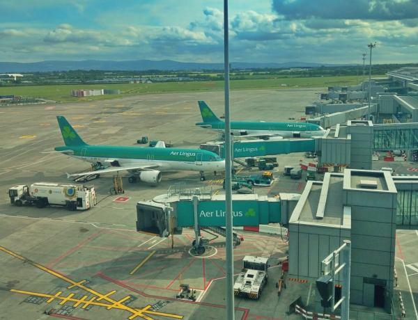 Samoloty na płycie lotniska w Dublinie.