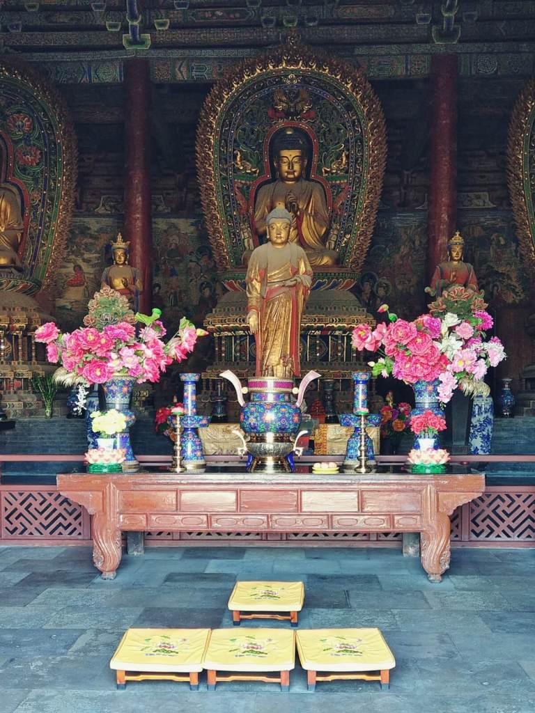 Figura Buddy w klasztorze Huayan w Datongu, w Chinach.