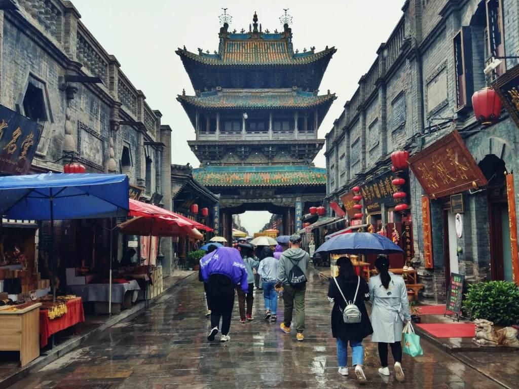 Shi Lou wieża ratuszowa w starożytnym mieście Pingyao w Chinach.