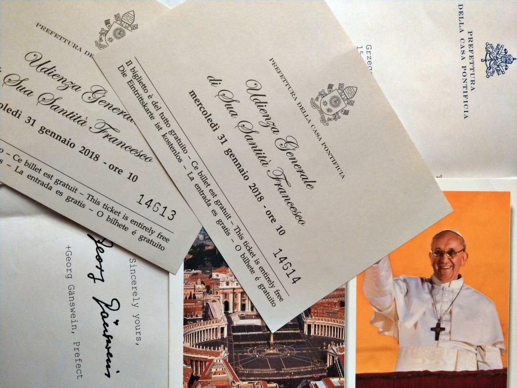 Zaproszenia na audiencję generalną papieża Franciszka.