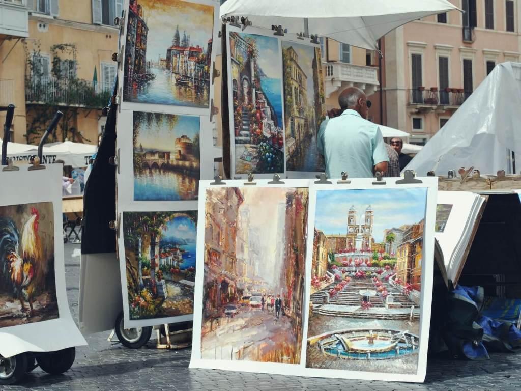 Sprzedawcy obrazów na Piazza Navona.