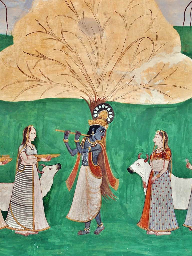 Hinduistyczne malowidła z Amber Fortu w Dżajpurze.