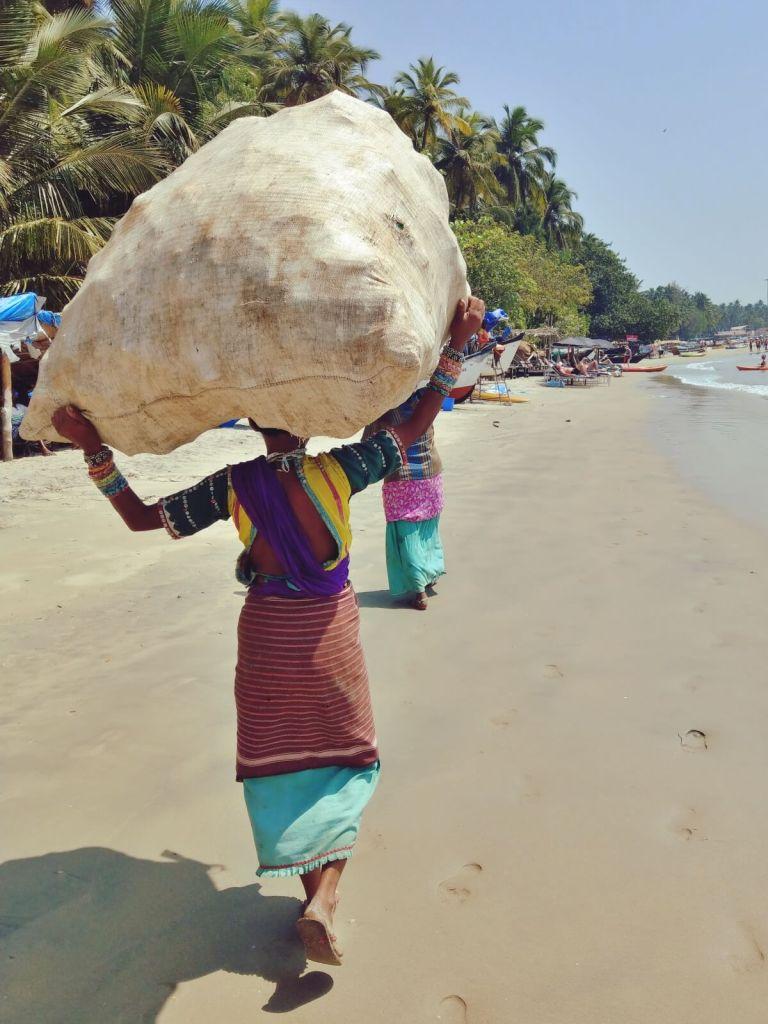 Kobiety zatrudnione przy sprzątaniu plaży na Goa.