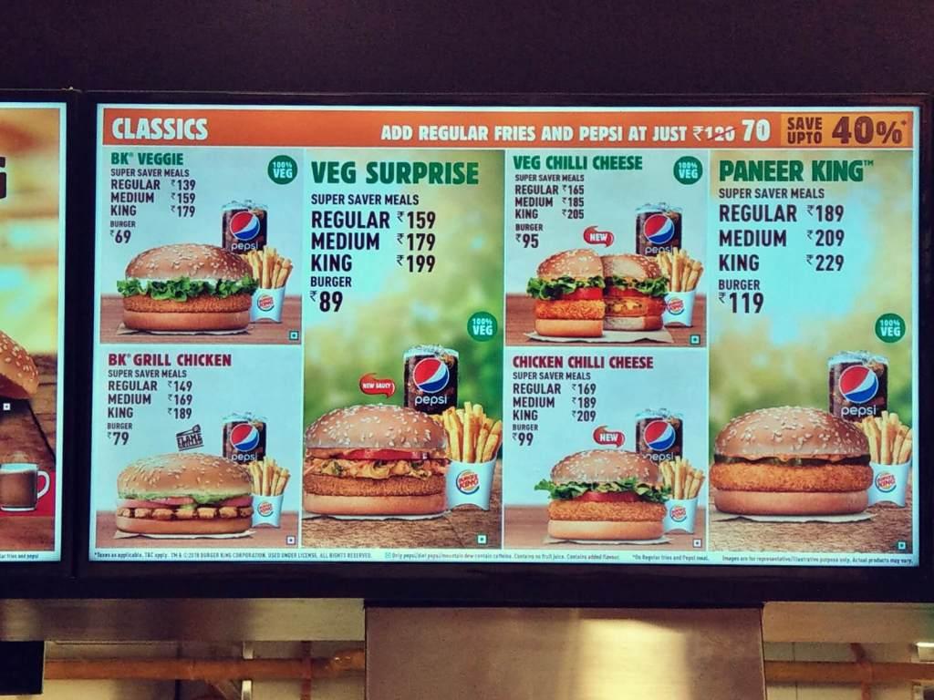 Indyjskie menu w Burger King.