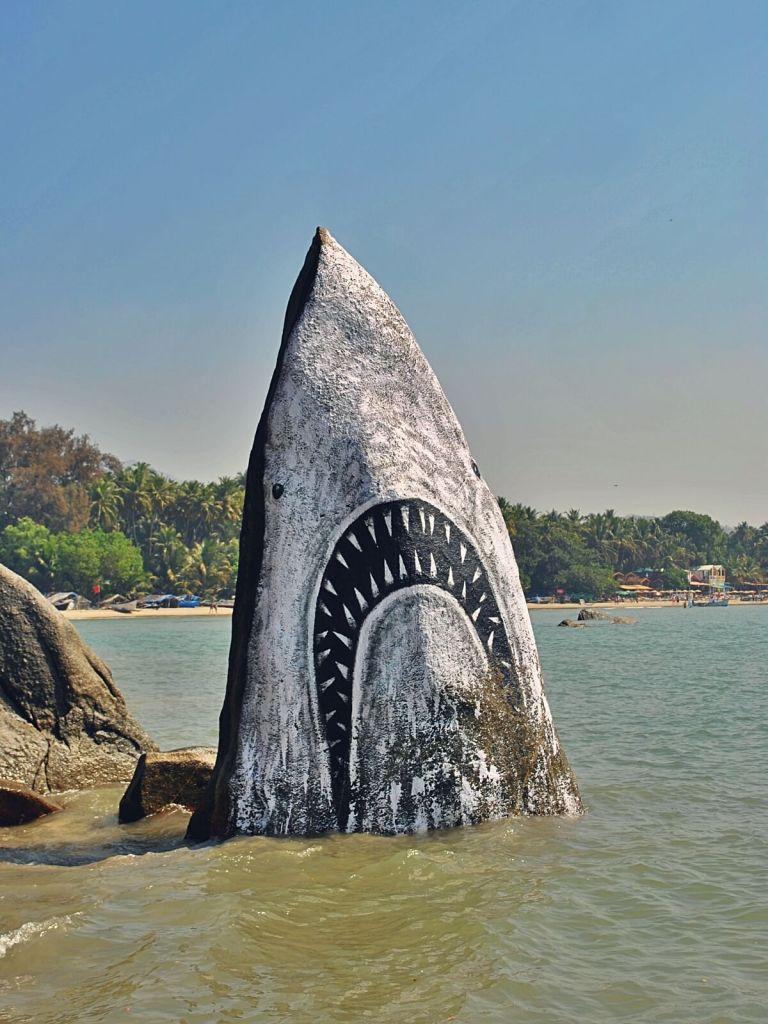 Skała w kształcie rekina w Palolem na Goa.