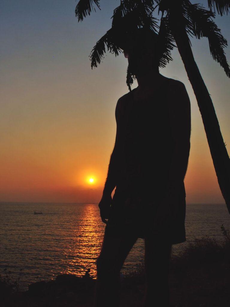Zachód słońca na Goa, w Indiach.