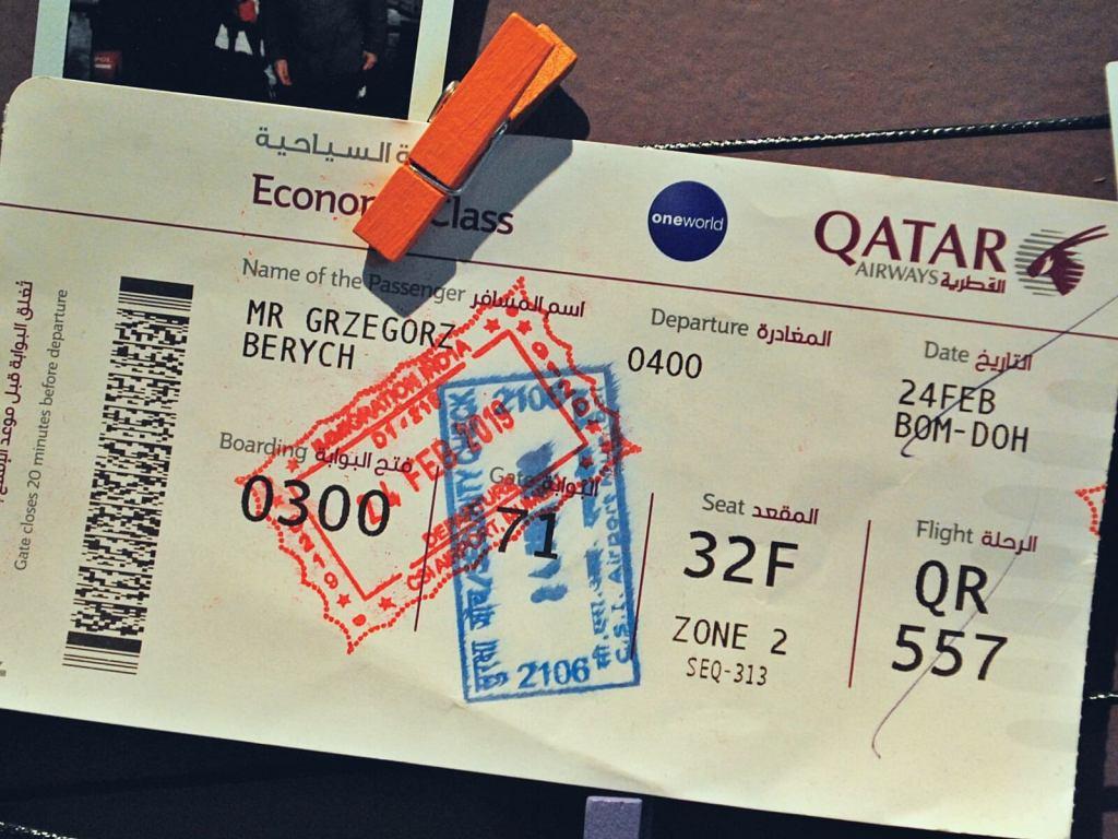 Bilet lotniczy Qatar Airways.