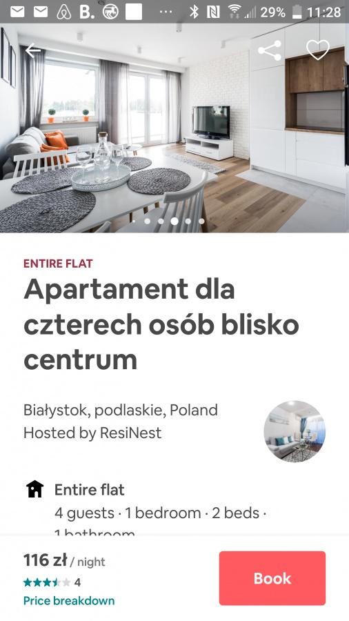 Aplikacja dla podróżników airbnb.