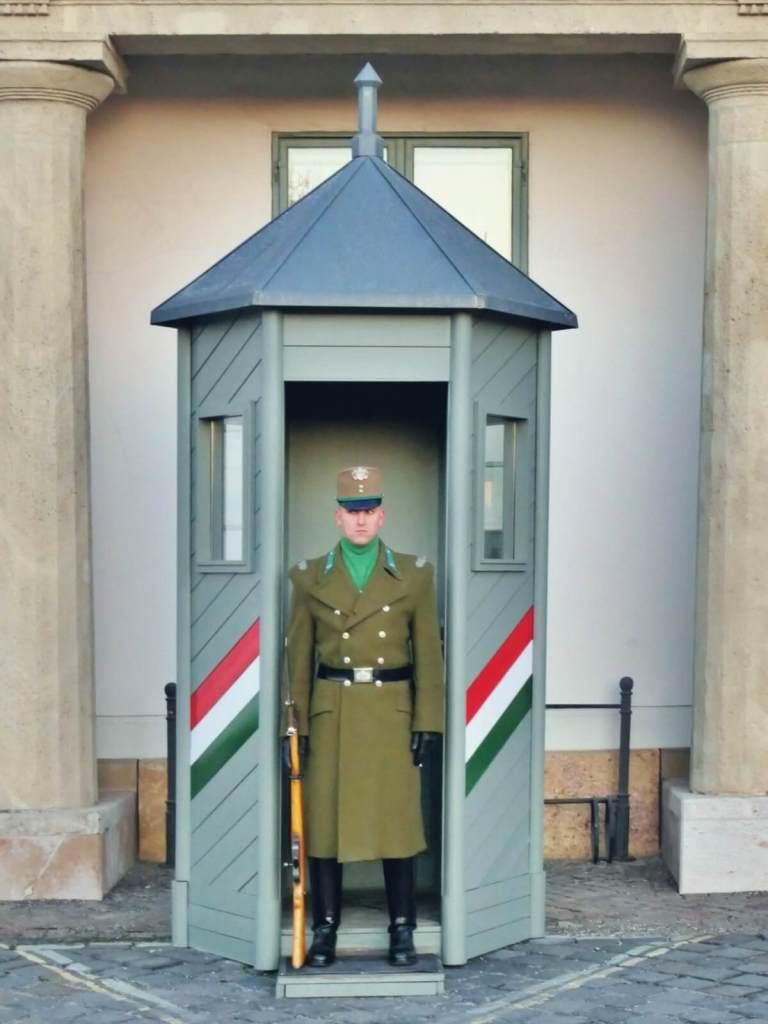 Żołnierze przy pałacu prezydenckim w Budapeszcie.