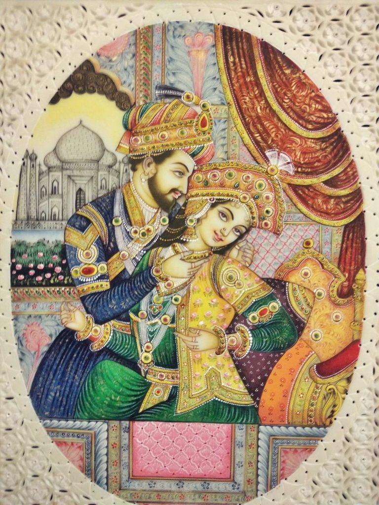 Portret Mumtaz Mahal, która pochowana jest w Taj Mahal w Agrze.