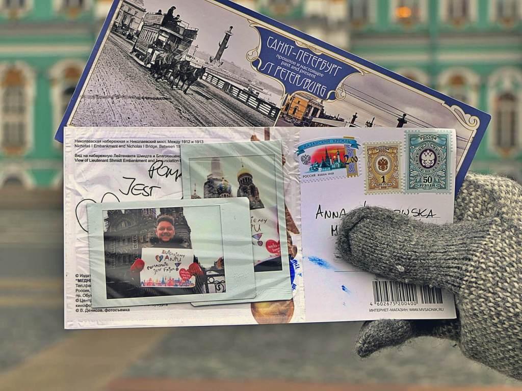 Kartka pocztowa wysłana przez blogerów podróżniczych.
