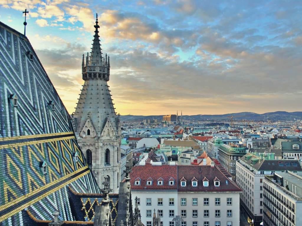 Widok na Wiedeń z weiży katedry w. Szczepana.