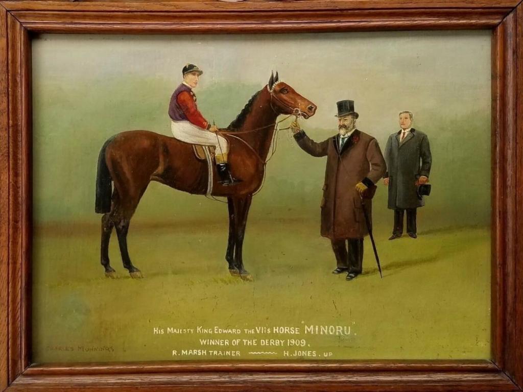 Król Edward VII ze swoim koniem - Minoru.